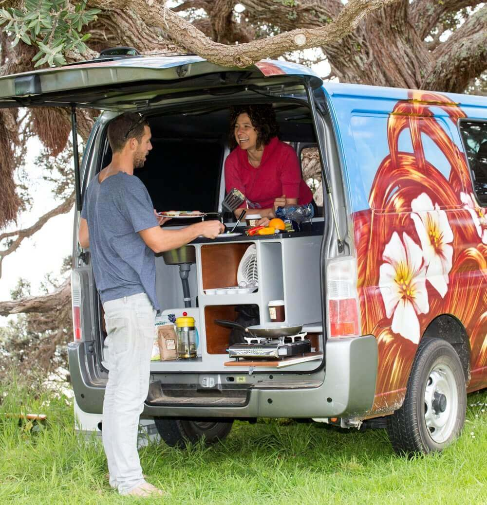 Campervan with a fully equipped kitchens