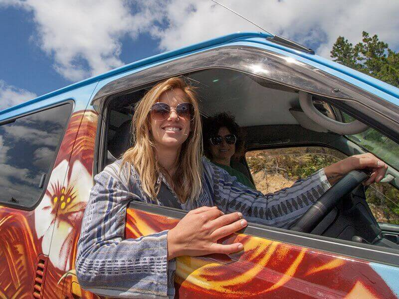 Girl driving a campervan