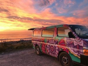 Campervan with sunset